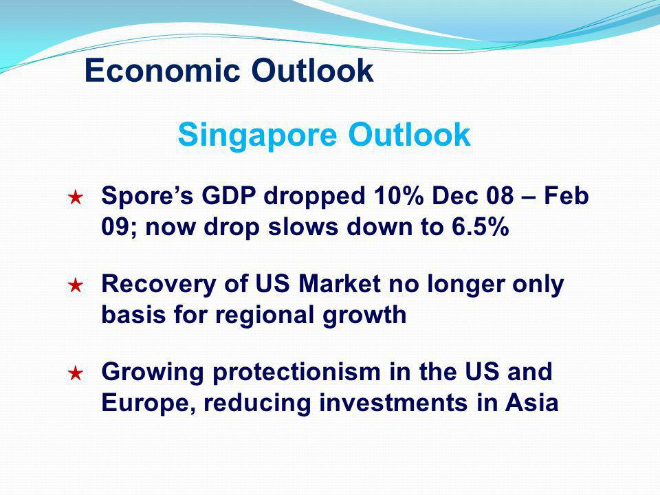 Economic Outlook Singapore Outlook Spores GDP dropped 10% Dec 08 – Feb 09; now drop slows down to 6.5% Recovery of US Market no longer only basis for
