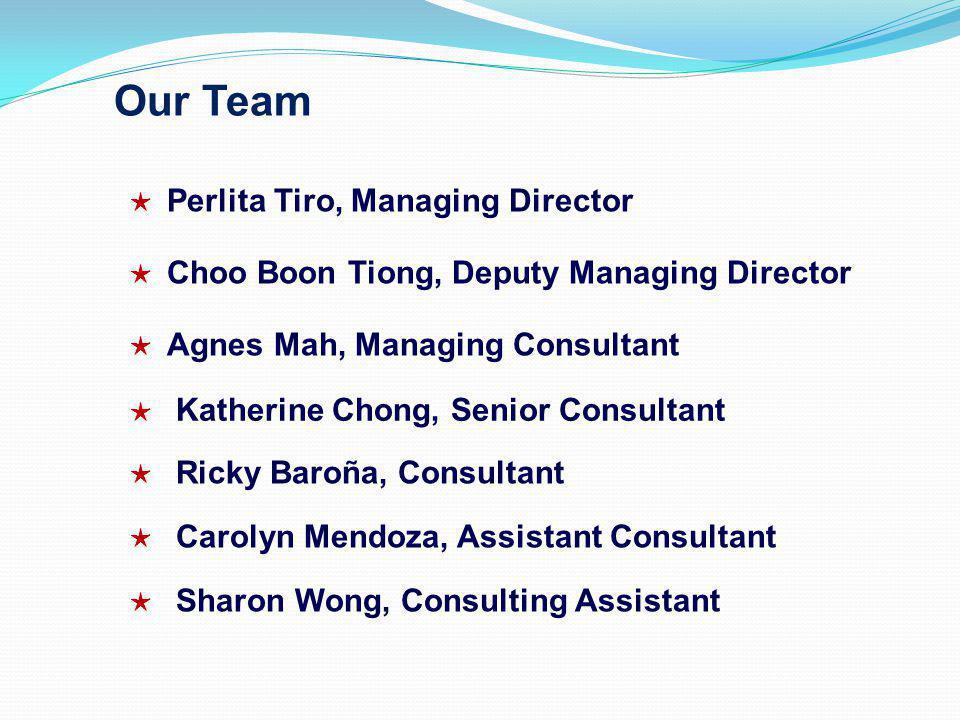 Our Team Perlita Tiro, Managing Director Choo Boon Tiong, Deputy Managing Director Agnes Mah, Managing Consultant Katherine Chong, Senior Consultant Ricky Baroña, Consultant Carolyn Mendoza, Assistant Consultant Sharon Wong, Consulting Assistant
