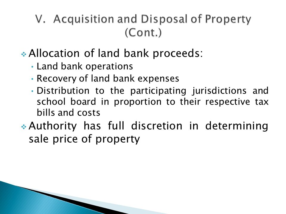 Allocation of land bank proceeds: Land bank operations Recovery of land bank expenses Distribution to the participating jurisdictions and school board