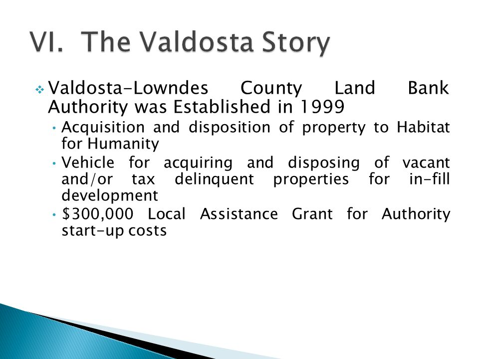 Valdosta-Lowndes County Land Bank Authority was Established in 1999 Acquisition and disposition of property to Habitat for Humanity Vehicle for acquiring and disposing of vacant and/or tax delinquent properties for in-fill development $300,000 Local Assistance Grant for Authority start-up costs