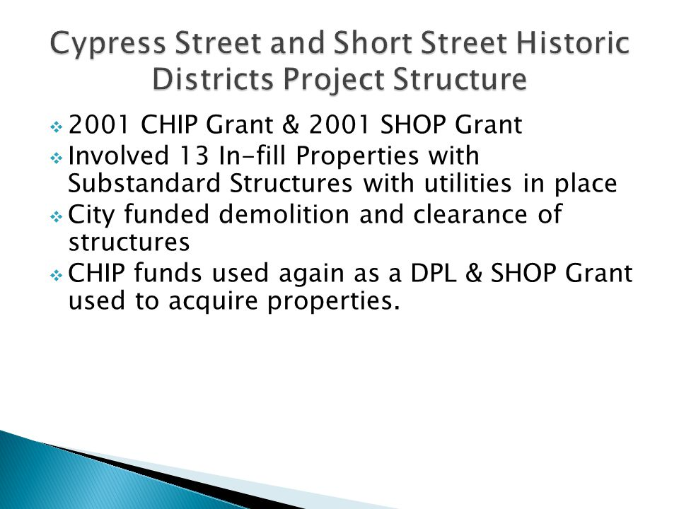 2001 CHIP Grant & 2001 SHOP Grant Involved 13 In-fill Properties with Substandard Structures with utilities in place City funded demolition and cleara