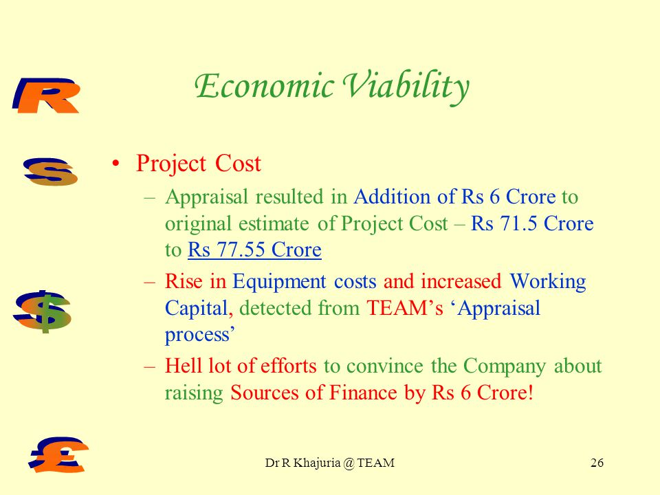 Dr R TEAM25 Technical Feasibility Technology source and cost Manpower Requirements & Costs Pollution Control Measures ISO Certification: 9000 / 14000