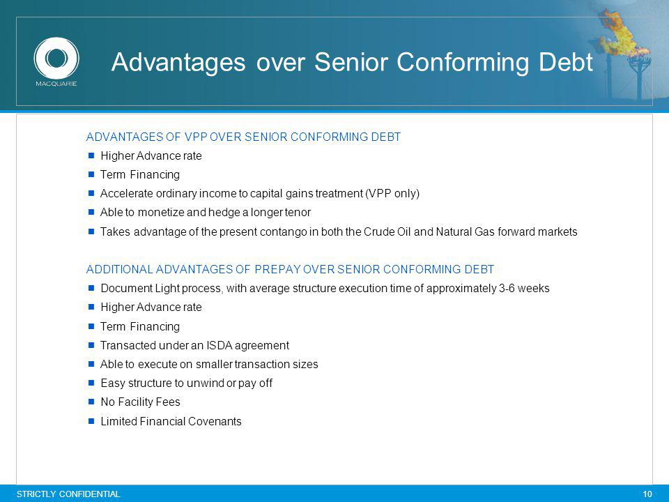 STRICTLY CONFIDENTIAL 10 Advantages over Senior Conforming Debt ADVANTAGES OF VPP OVER SENIOR CONFORMING DEBT Higher Advance rate Term Financing Accel