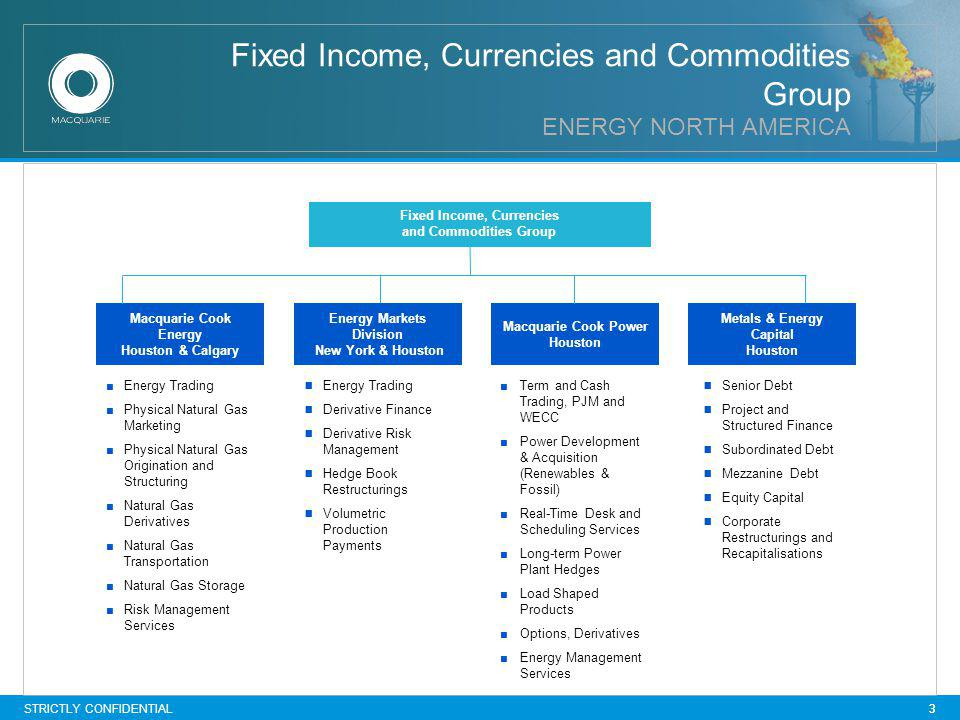STRICTLY CONFIDENTIAL 3 Fixed Income, Currencies and Commodities Group ENERGY NORTH AMERICA Senior Debt Project and Structured Finance Subordinated Debt Mezzanine Debt Equity Capital Corporate Restructurings and Recapitalisations Energy Trading Derivative Finance Derivative Risk Management Hedge Book Restructurings Volumetric Production Payments 3 Energy Trading Physical Natural Gas Marketing Physical Natural Gas Origination and Structuring Natural Gas Derivatives Natural Gas Transportation Natural Gas Storage Risk Management Services Fixed Income, Currencies and Commodities Group Metals & Energy Capital Houston Energy Markets Division New York & Houston Macquarie Cook Power Houston Macquarie Cook Energy Houston & Calgary Term and Cash Trading, PJM and WECC Power Development & Acquisition (Renewables & Fossil) Real-Time Desk and Scheduling Services Long-term Power Plant Hedges Load Shaped Products Options, Derivatives Energy Management Services