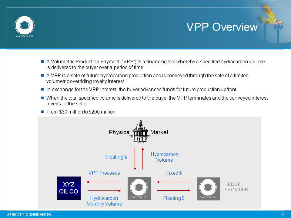 STRICTLY CONFIDENTIAL 5 VPP Overview A Volumetric Production Payment (VPP) is a financing tool whereby a specified hydrocarbon volume is delivered to the buyer over a period of time A VPP is a sale of future hydrocarbon production and is conveyed through the sale of a limited volumetric overriding royalty interest In exchange for the VPP interest, the buyer advances funds for future production upfront When the total specified volume is delivered to the buyer the VPP terminates and the conveyed interest reverts to the seller From $30 million to $200 million XYZ OIL CO Physical Market Fixed $ Floating $ Hydrocarbon Monthly Volume VPP Proceeds Hydrocarbon Volume Floating $ HEDGE PROVIDER
