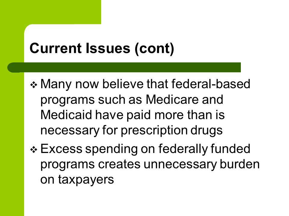 Current Issues (cont) Many now believe that federal-based programs such as Medicare and Medicaid have paid more than is necessary for prescription drugs Excess spending on federally funded programs creates unnecessary burden on taxpayers