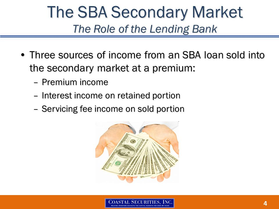 4 The SBA Secondary Market The Role of the Lending Bank Three sources of income from an SBA loan sold into the secondary market at a premium:Three sou