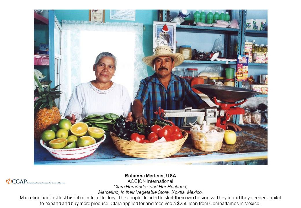Rohanna Mertens, USA ACCIÓN International Clara Hernández and Her Husband, Marcelino, in their Vegetable Store.