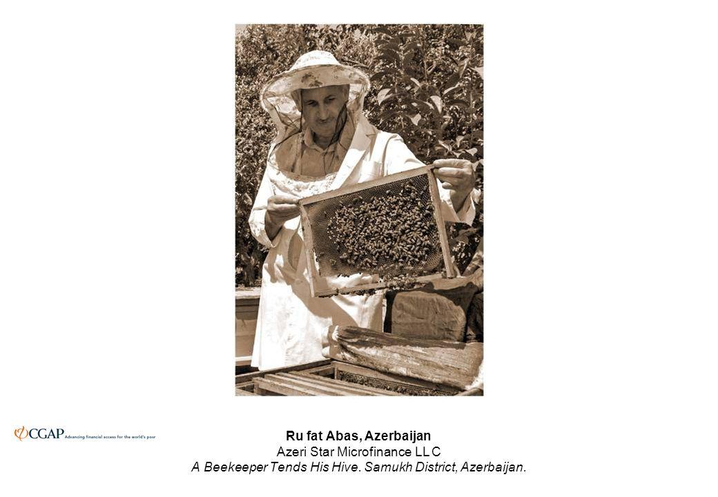 Ru fat Abas, Azerbaijan Azeri Star Microfinance LL C A Beekeeper Tends His Hive.