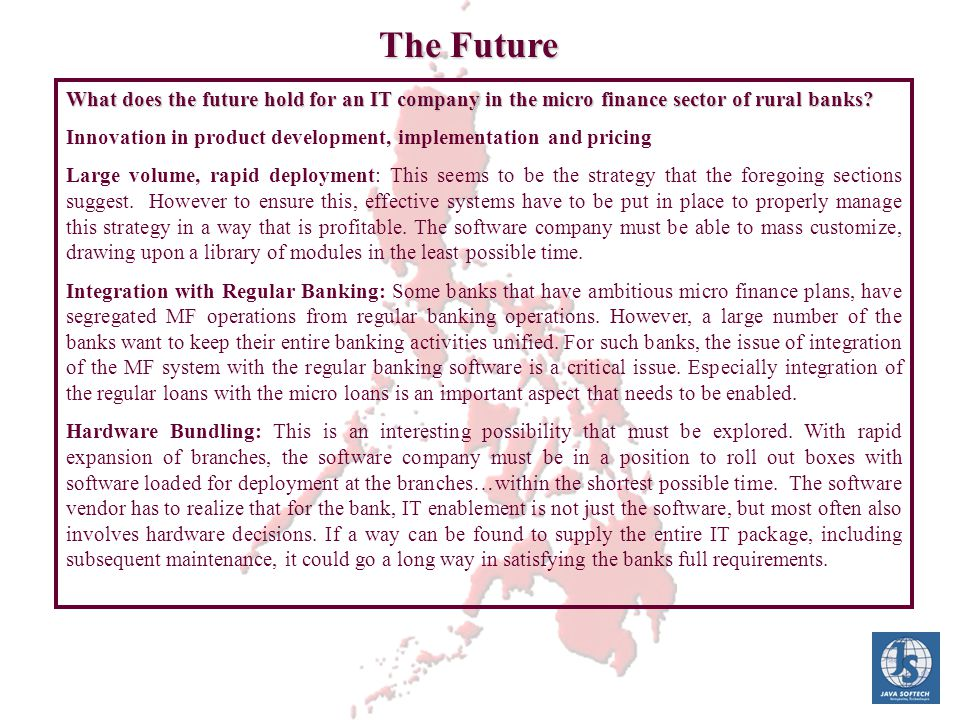What does the future hold for an IT company in the micro finance sector of rural banks? What does the future hold for an IT company in the micro finan