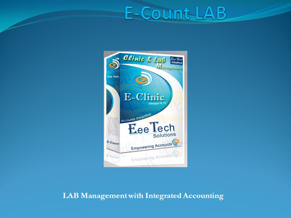 E-Count LAB Lab Management with integrated Accounting.