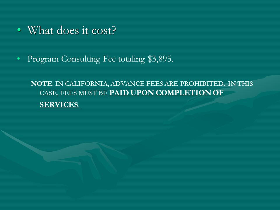 What does it cost?What does it cost. Program Consulting Fee totaling $3,895.