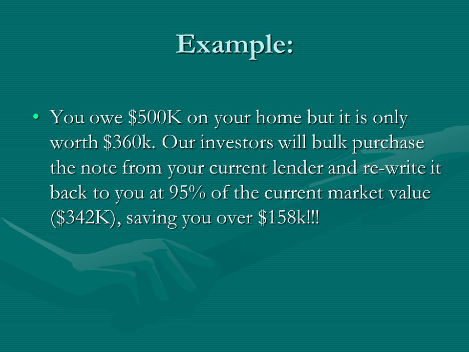 Example: You owe $500K on your home but it is only worth $360k.