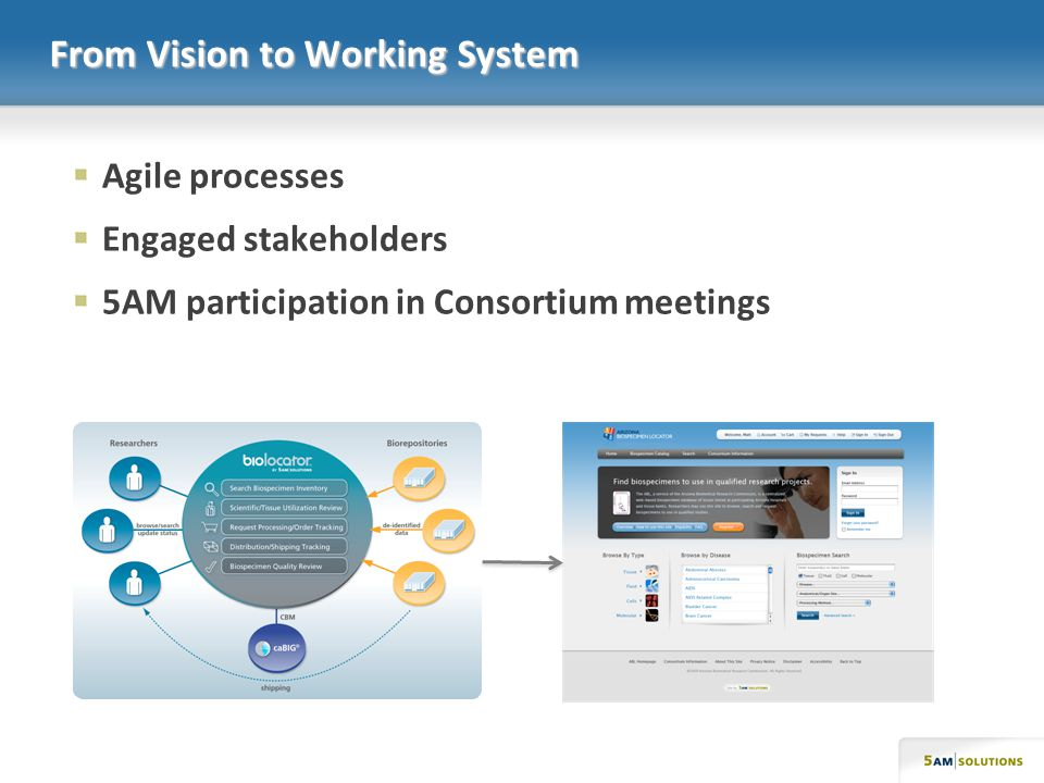 From Vision to Working System Agile processes Engaged stakeholders 5AM participation in Consortium meetings