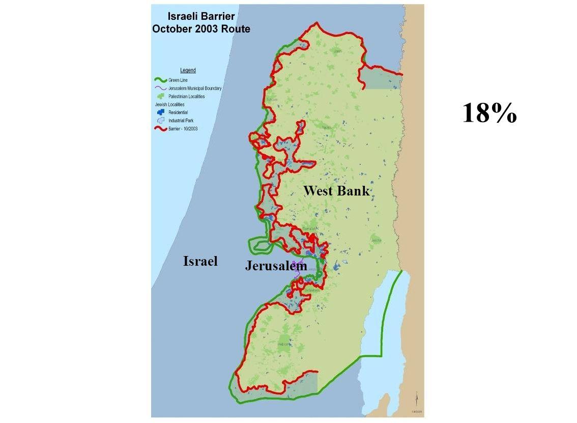 West Bank Israel Jerusalem 18%