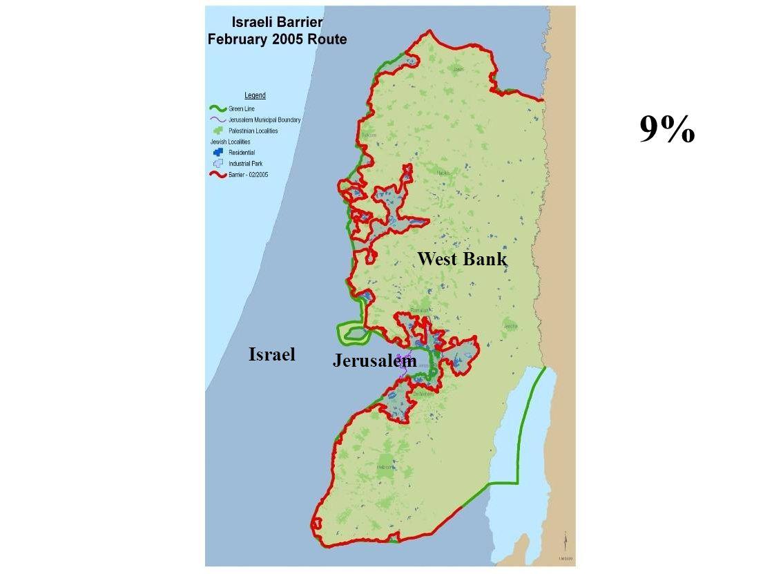 West Bank Israel Jerusalem 9%