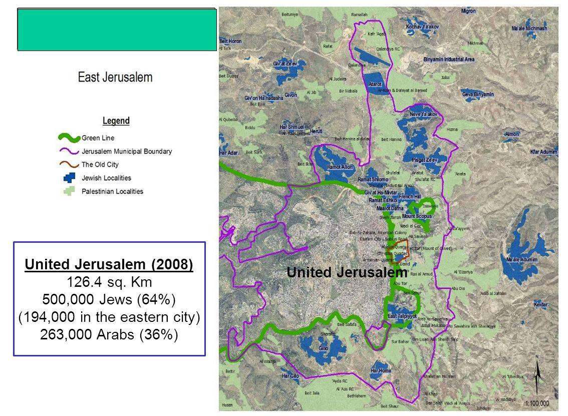 United Jerusalem (2008) 126.4 sq. Km 500,000 Jews (64%) (194,000 in the eastern city) 263,000 Arabs (36%) United Jerusalem