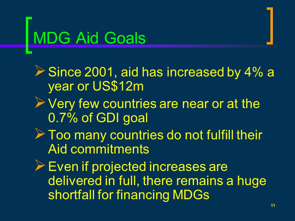 11 MDG Aid Goals Since 2001, aid has increased by 4% a year or US$12m Very few countries are near or at the 0.7% of GDI goal Too many countries do not