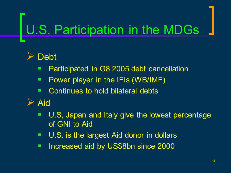14 U.S. Participation in the MDGs Debt Participated in G8 2005 debt cancellation Power player in the IFIs (WB/IMF) Continues to hold bilateral debts A