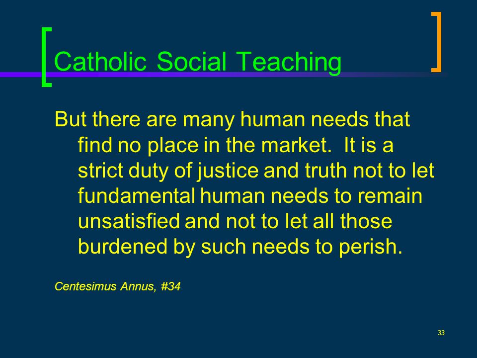 33 Catholic Social Teaching But there are many human needs that find no place in the market. It is a strict duty of justice and truth not to let funda