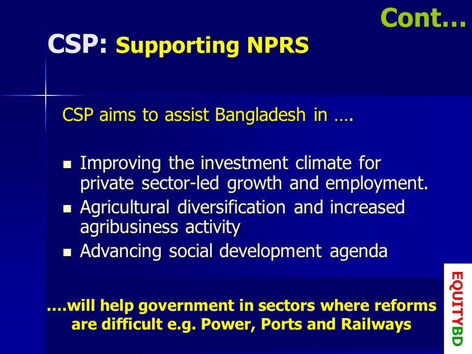 Supporting NPRS CSP: Supporting NPRS CSP aims to assist Bangladesh in ….