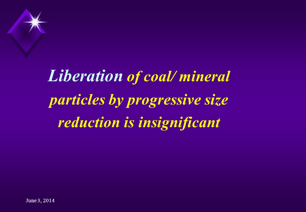 June 3, 2014 Liberation of coal/ mineral particles by progressive size reduction is insignificant