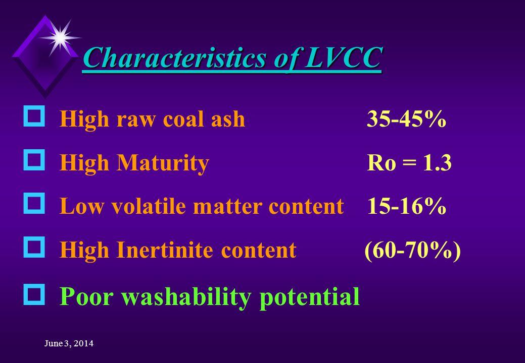 June 3, 2014 Characteristics of LVCC p High raw coal ash 35-45% p High Maturity Ro = 1.3 p Low volatile matter content 15-16% p High Inertinite content (60-70%) p Poor washability potential