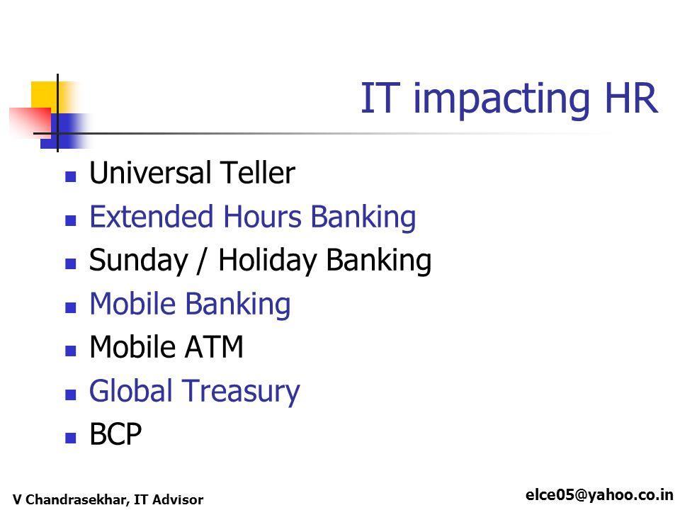 elce05@yahoo.co.in V Chandrasekhar, IT Advisor IT impacting HR Universal Teller Extended Hours Banking Sunday / Holiday Banking Mobile Banking Mobile