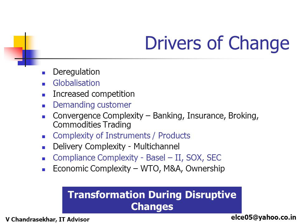 elce05@yahoo.co.in V Chandrasekhar, IT Advisor Drivers of Change Deregulation Globalisation Increased competition Demanding customer Convergence Compl