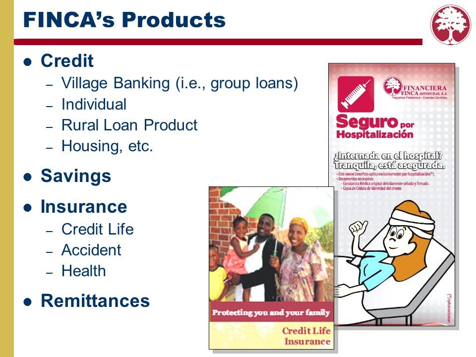 FINCAs Products Credit – Village Banking (i.e., group loans) – Individual – Rural Loan Product – Housing, etc. Savings Insurance – Credit Life – Accid