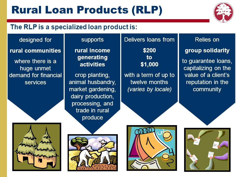 The RLP is a specialized loan product is: Rural Loan Products (RLP) designed for rural communities where there is a huge unmet demand for financial se