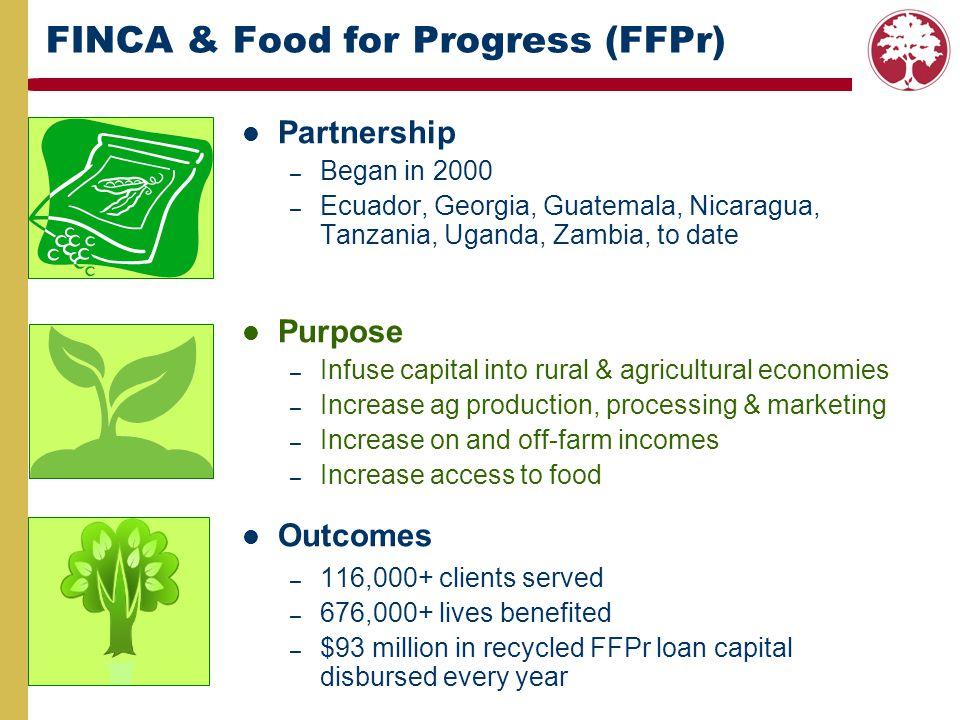 FINCA & Food for Progress (FFPr) Partnership –B–Began in 2000 –E–Ecuador, Georgia, Guatemala, Nicaragua, Tanzania, Uganda, Zambia, to date Purpose –I–