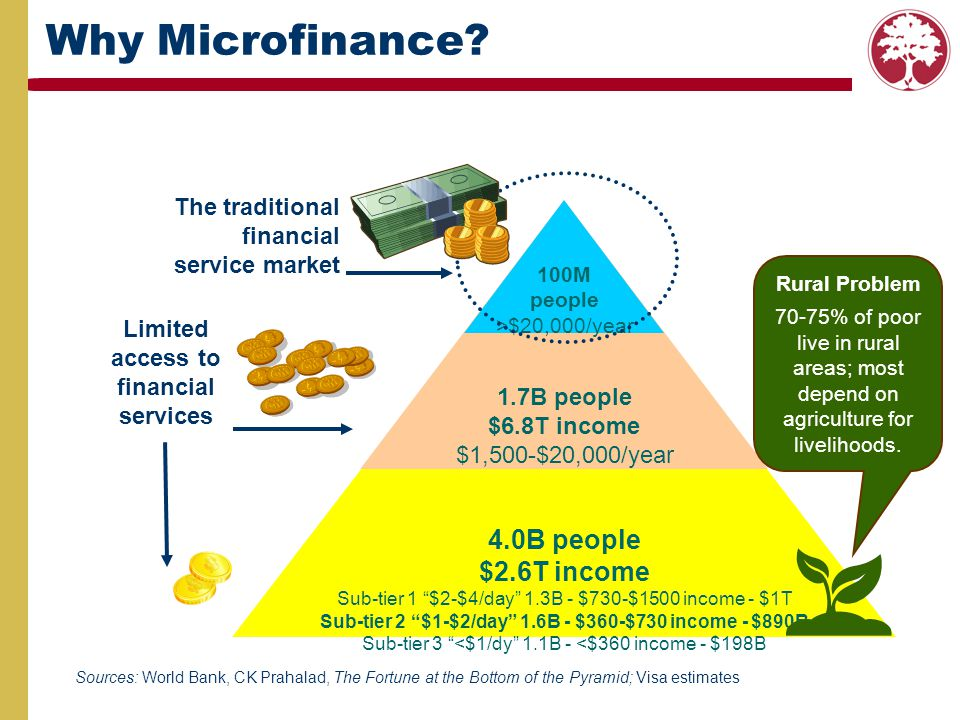 How Finance Helps Access to financial services Builds confidence in the future and willingness to make long-term investments Increases & diversifies income Builds assets & security EMPOWERS WOMEN