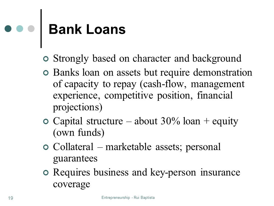 Entrepreneurship - Rui Baptista 19 Bank Loans Strongly based on character and background Banks loan on assets but require demonstration of capacity to