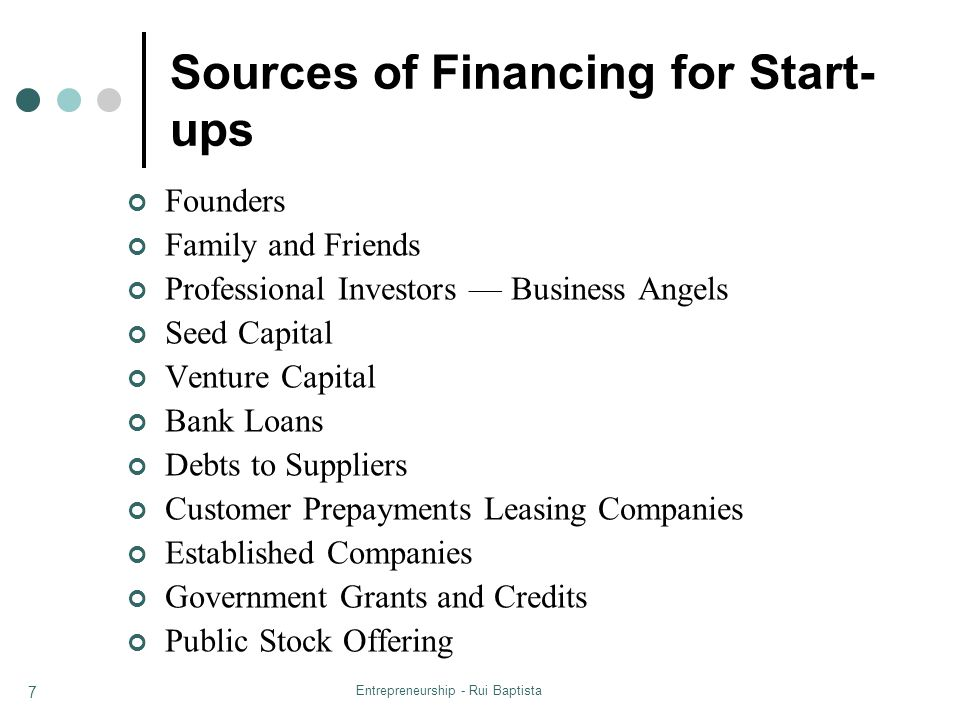 Entrepreneurship - Rui Baptista 7 Sources of Financing for Start- ups Founders Family and Friends Professional Investors Business Angels Seed Capital