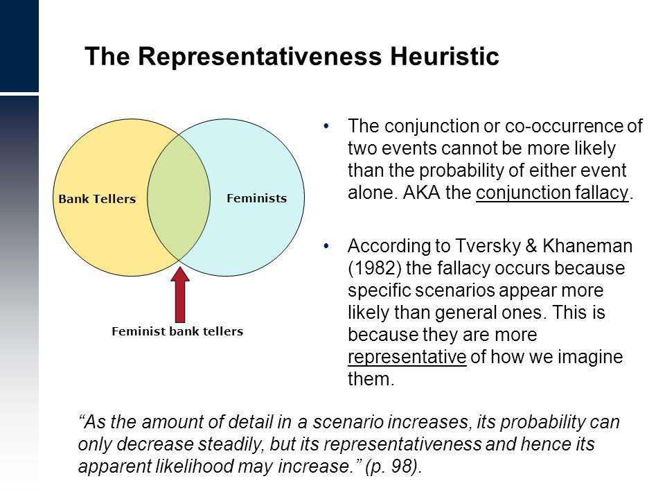 The Representativeness Heuristic The conjunction or co-occurrence of two events cannot be more likely than the probability of either event alone.