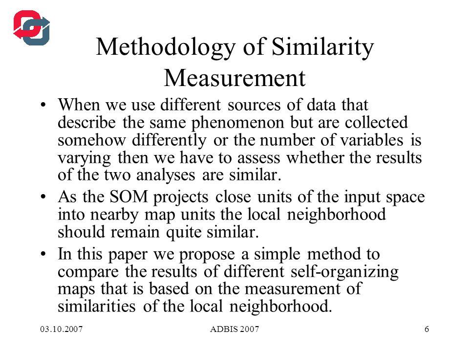 03.10.2007ADBIS 200717 Study of Banking Data Neighbourhood similarity of the SOM of banking data ExperimentNeig.