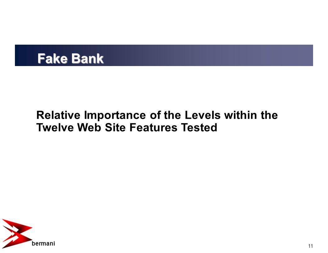 11 bermani Relative Importance of the Levels within the Twelve Web Site Features Tested Fake Bank