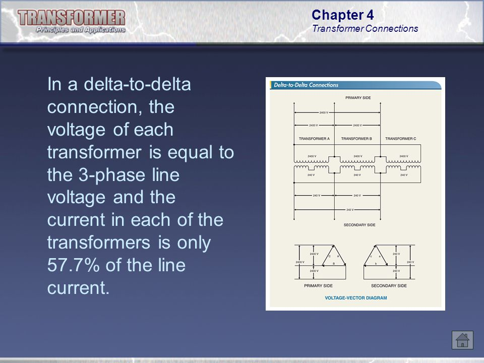 Chapter 4 Transformer Connections In a wye-to-delta connection of three single- phase transformers, one unit may be disconnected from the circuit and service maintained with the secondary operating in open delta connection at 57.7% of normal bank capacity.