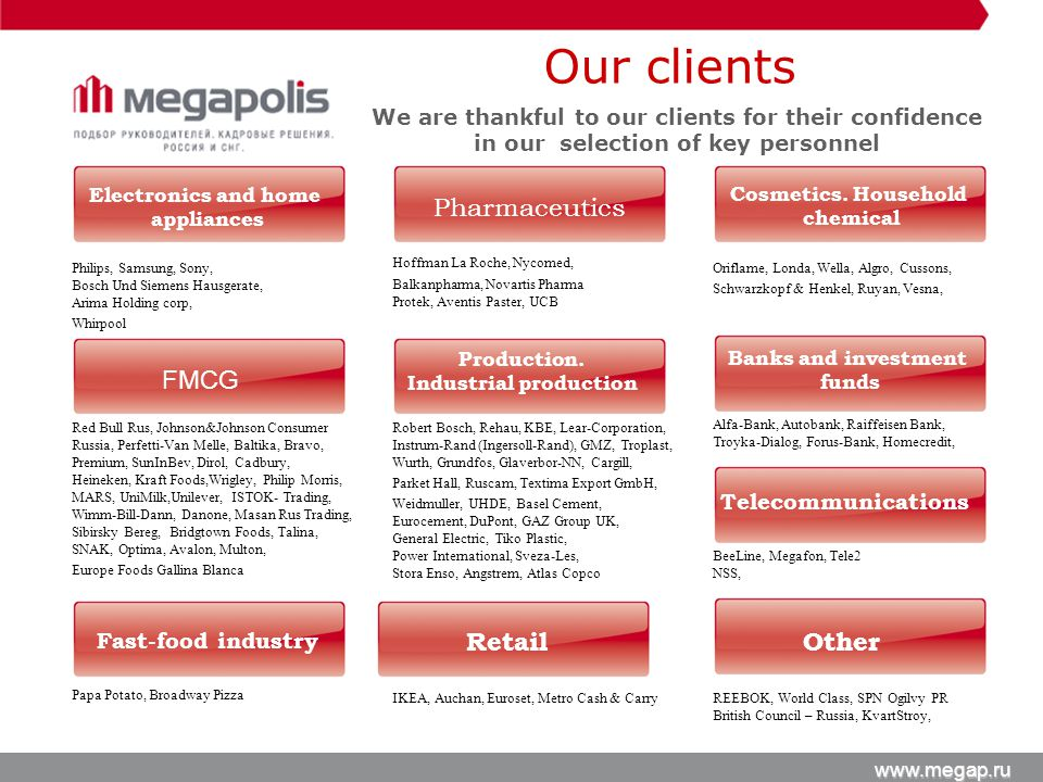 Our clients We are thankful to our clients for their confidence in our selection of key personnel Philips, Samsung, Sony, Bosch Und Siemens Hausgerate, Arima Holding corp, Whirpool Red Bull Rus, Johnson&Johnson Consumer Russia, Perfetti-Van Melle, Baltika, Bravo, Premium, SunInBev, Dirol, Cadbury, Heineken, Kraft Foods,Wrigley, Philip Morris, MARS, UniMilk,Unilever, ISTOK- Trading, Wimm-Bill-Dann, Danone, Masan Rus Trading, Sibirsky Bereg, Bridgtown Foods, Talina, SNAK, Optima, Avalon, Multon, Europe Foods Gallina Blanca Papa Potato, Broadway Pizza Hoffman La Roche, Nycomed, Balkanpharma, Novartis Pharma Protek, Aventis Paster, UCB Robert Bosch, Rehau, KBE, Lear-Corporation, Instrum-Rand (Ingersoll-Rand), GMZ, Troplast, Wurth, Grundfos, Glaverbor-NN, Cargill, Parket Hall, Ruscam, Textima Export GmbH, Weidmuller, UHDE, Basel Cement, Eurocement, DuPont, GAZ Group UK, General Electric, Tiko Plastic, Power International, Sveza-Les, Stora Enso, Angstrem, Atlas Copco IKEA, Auchan, Euroset, Metro Cash & Carry Oriflame, Londa, Wella, Algro, Cussons, Schwarzkopf & Henkel, Ruyan, Vesna, Alfa-Bank, Autobank, Raiffeisen Bank, Troyka-Dialog, Forus-Bank, Homecredit, BeeLine, Megafon, Tele2 NSS, REEBOK, World Class, SPN Ogilvy PR British Council – Russia, KvartStroy, Electronics and home appliances FMCG Fast-food industry Cosmetics.