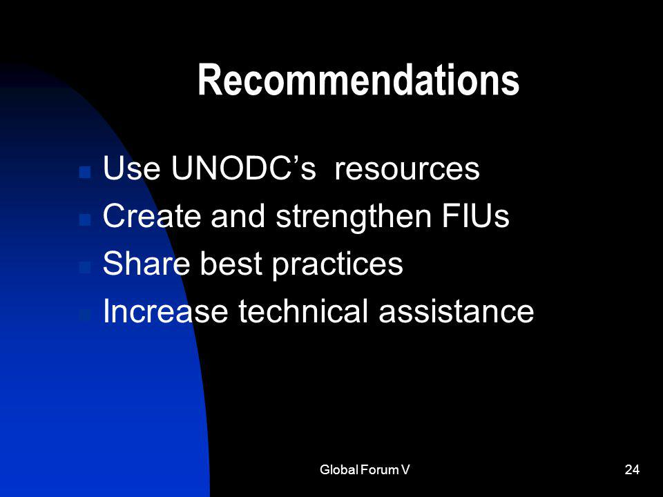 Global Forum V24 Recommendations Use UNODCs resources Create and strengthen FIUs Share best practices Increase technical assistance