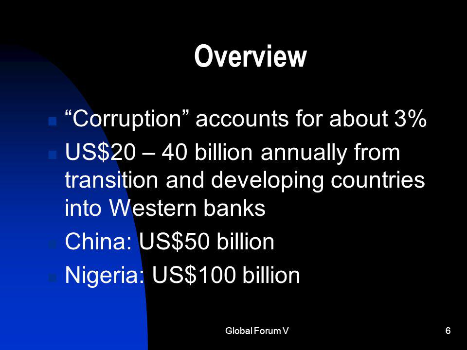 Global Forum V6 Overview Corruption accounts for about 3% US$20 – 40 billion annually from transition and developing countries into Western banks China: US$50 billion Nigeria: US$100 billion