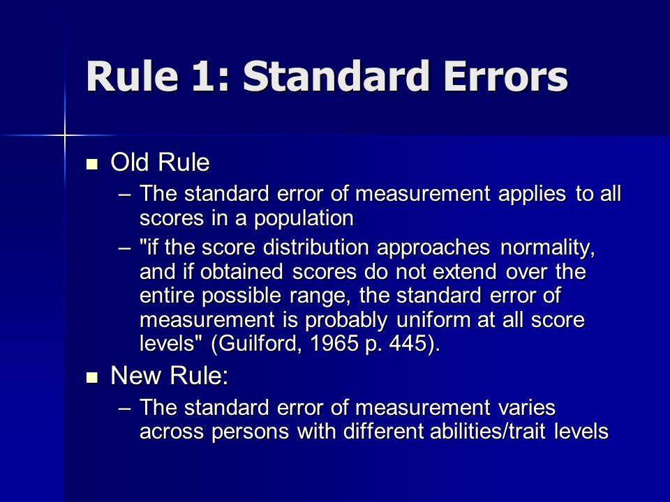 Standard Error Across the Measurement Range