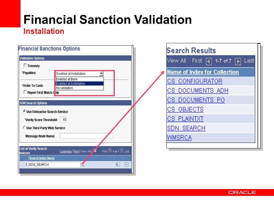 Financial Sanction Validation Installation