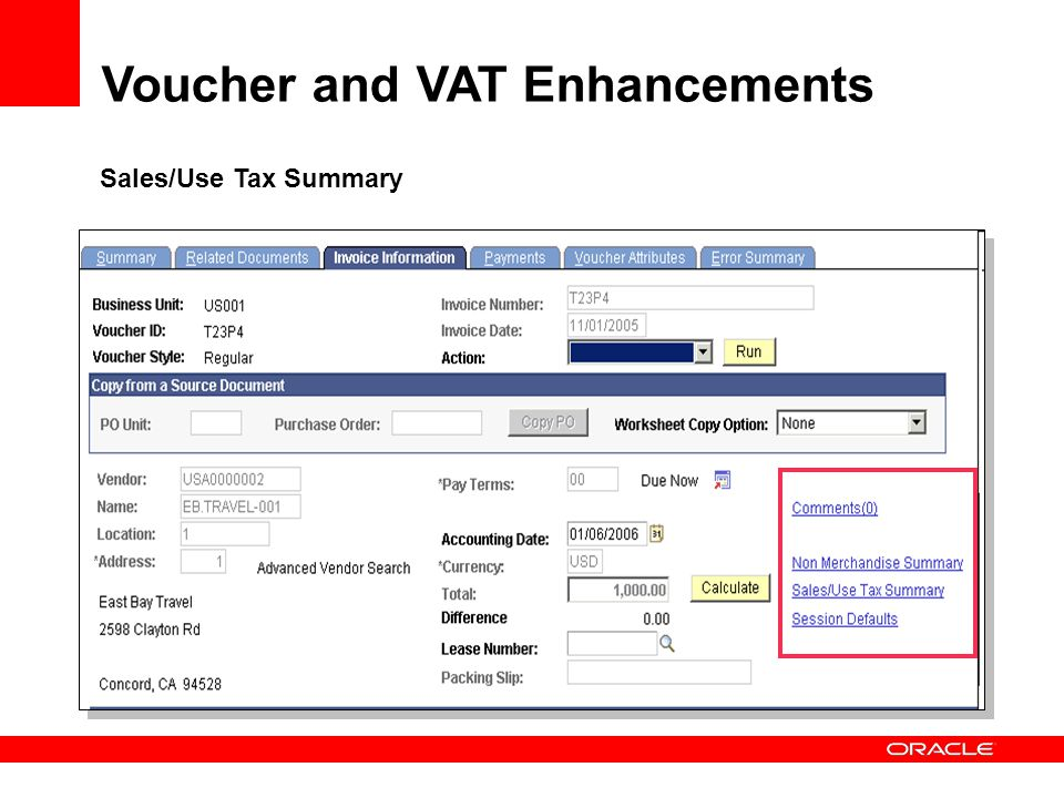 Sales/Use Tax Summary Voucher and VAT Enhancements