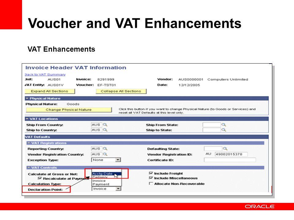 VAT Enhancements Voucher and VAT Enhancements