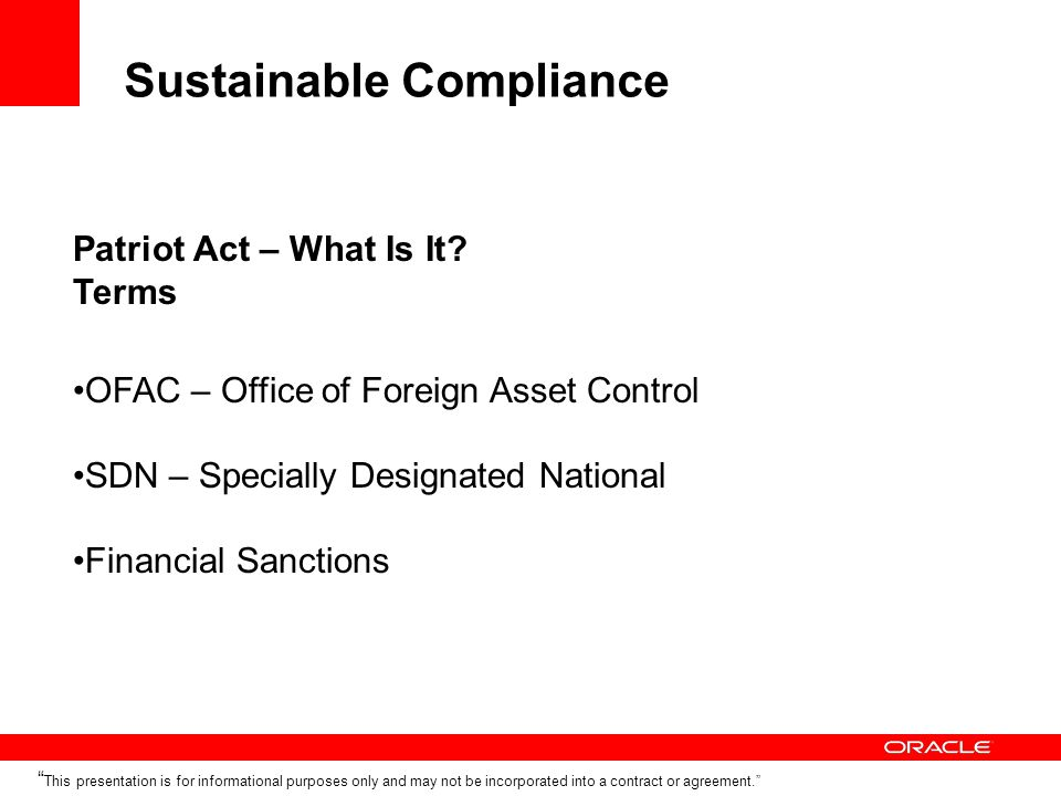Sustainable Compliance Patriot Act – What Is It.