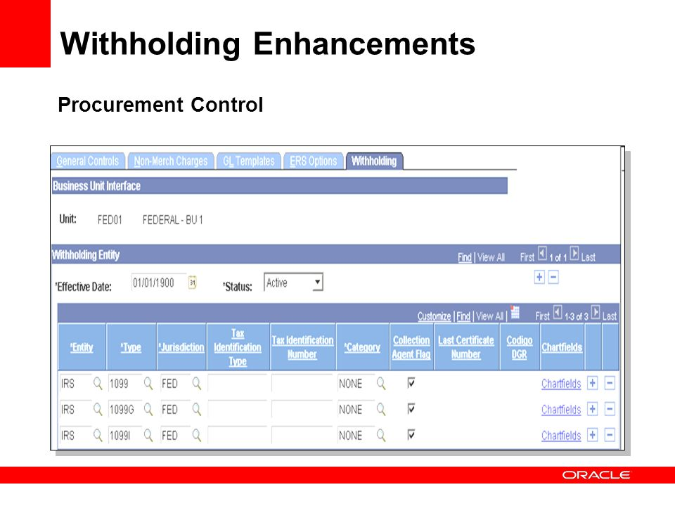 Procurement Control Withholding Enhancements