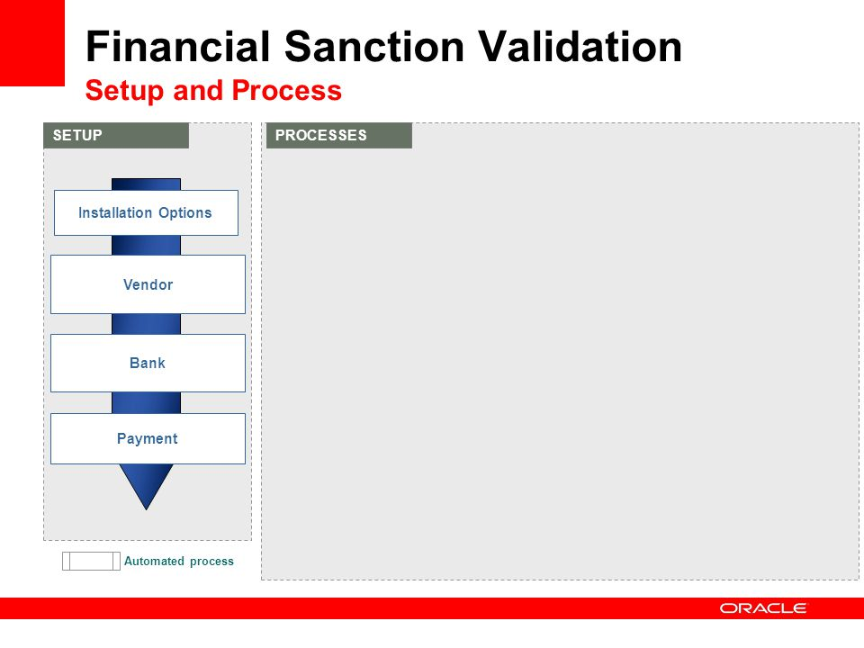 Automated process Financial Sanction Validation Setup and Process SETUPPROCESSES Vendor Bank Payment Installation Options