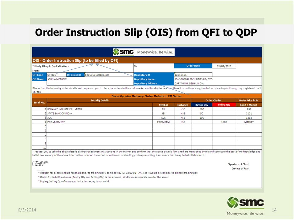 Order Instruction Slip (OIS) from QFI to QDP 6/3/201414